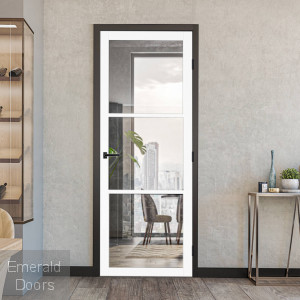3L White Clear Glazed Industrial Style Door