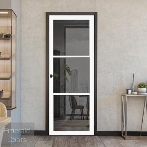 3L White Tinted Glazed Industrial Style Door