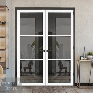 3L White Tinted Glazed Industrial Style Door Pair