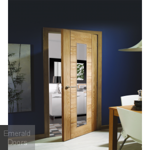 Ravenna Unfinished Oak with Clear Glass In Roomset