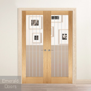 Mexicano Oak French Doors With Frosted Lines