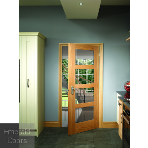 Shaker with Clear Glass Unfinished Oak Fire Door In Roomset