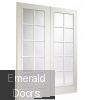 Portobello Pair Internal Pre-Finished White Moulded with Clear Glass Skewed Image