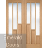 Oak Coventry French Door with Clear Glass Fully Finished