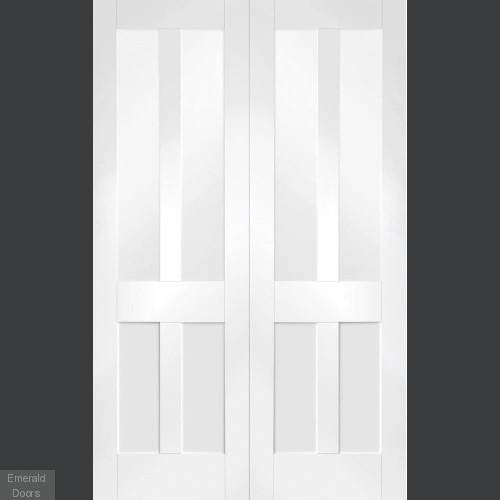 Malton White Shaker French Doors with Clear Glass