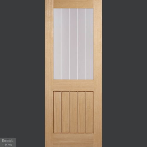 Mexicano Oak 1 Light Internal Door With Frosted Lines