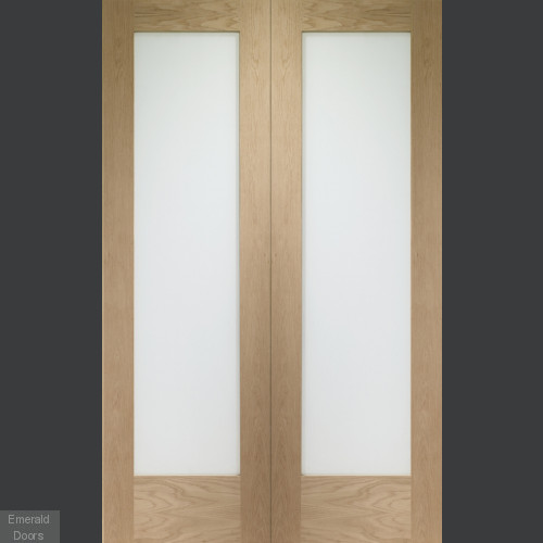 Oak Pattern 10 Custom Made French Doors with Clear Glass