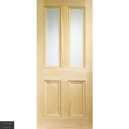 Edwardian Pine Vertical Grain with Clear Bevelled Glass