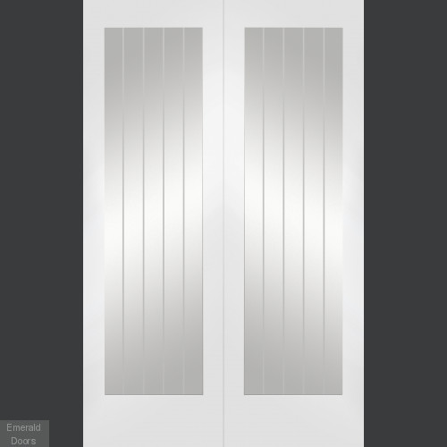 Custom Made Suffolk White French Doors with Clear Etched Glass