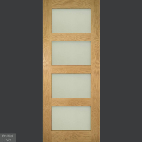 Coventry Oak Obscure Glazed Door Fully Finished