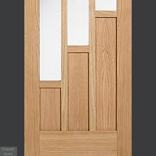 Coventry Oak French Door with Clear Glass Fully Finished