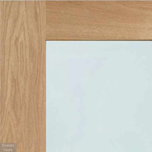 Shaker with Clear Glass Pre-Finished Oak In Roomset