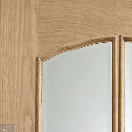 Riviera Internal Oak Door With Raised Mouldings and Clear Bevelled Glass