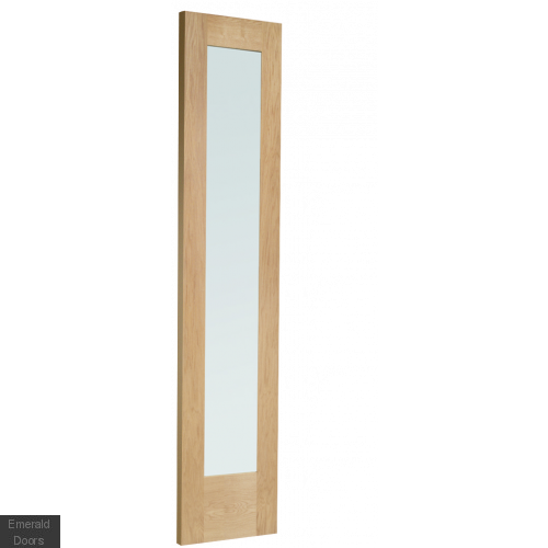 PATTERN 10 CLEAR GLAZED SINGLE DOOR ROOM DIVIDER WITH DEMI PANEL