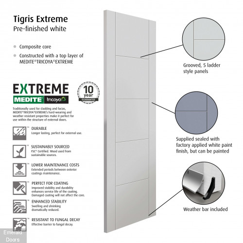 External Tigris White Fully Finished Extreme Door