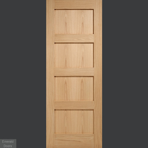 Contemporary 4 Panel Oak Fire Door Fully Finished C