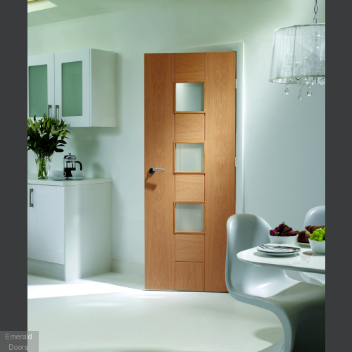 Messina Pre-Finished Oak with Clear Glass In Roomset