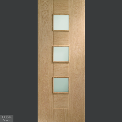 Messina Unfinished Oak with Obscure Glass In Roomset