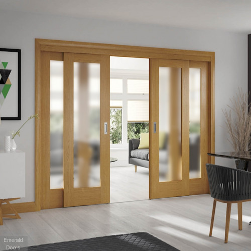 Sliding French Doors with Pattern 10 Obscure Glazed Doors