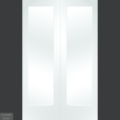 White Pattern 10 Custom Made Doors with Clear Glass