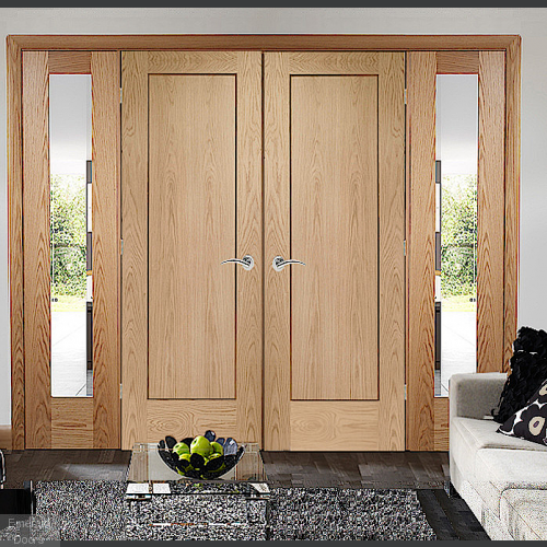 Oak Pattern 10 Panelled French Doors with Demi Panels