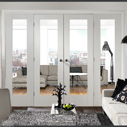 White Pattern 10 Clear Glazed French Doors with Side Panels