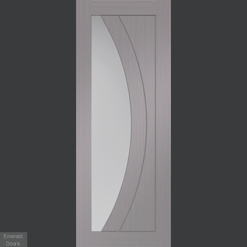 Salerno Light Grey Internal Door with Clear Glass