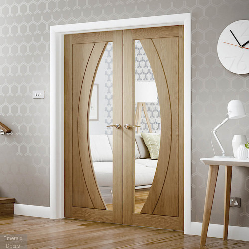 Salerno Custom Made Oak French Doors with Clear Glass
