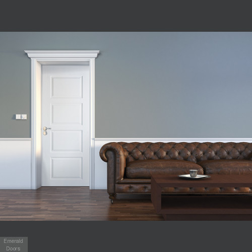 White Moulded Contemporay 4 Panel Internal Door