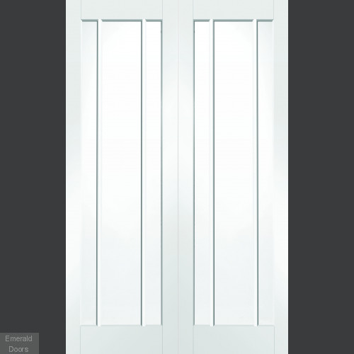 White Worcester Custom Made French Doors with Clear Glass